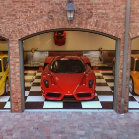 RaceDeck Diamond in a three supercar garage