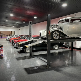 TuffShield flooring with car collection and lift