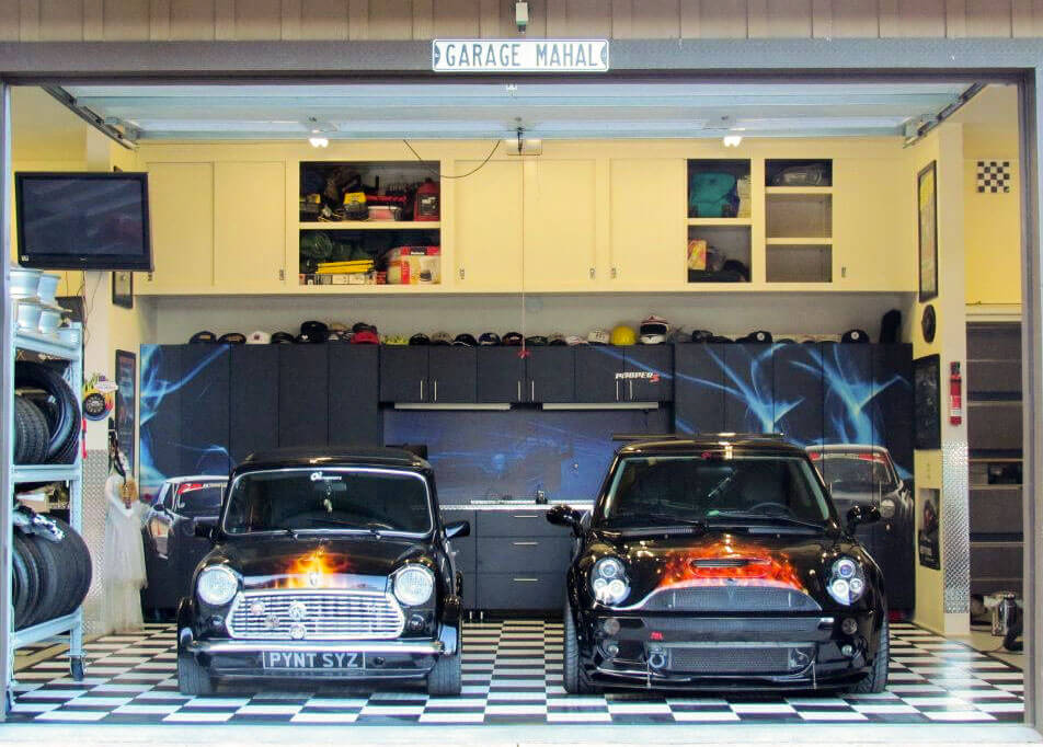 Two Mini Coopers on a RaceDeck Garage Floor