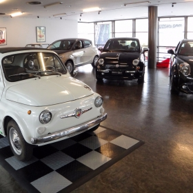 Vintage Fiat Abarth on a RaceDeck parking pad display