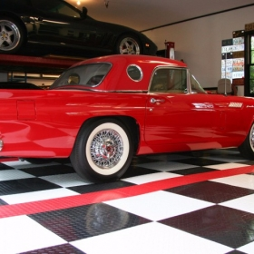 RaceDeck Diamond with TuffShield floor and a classic Ford Thunderbird