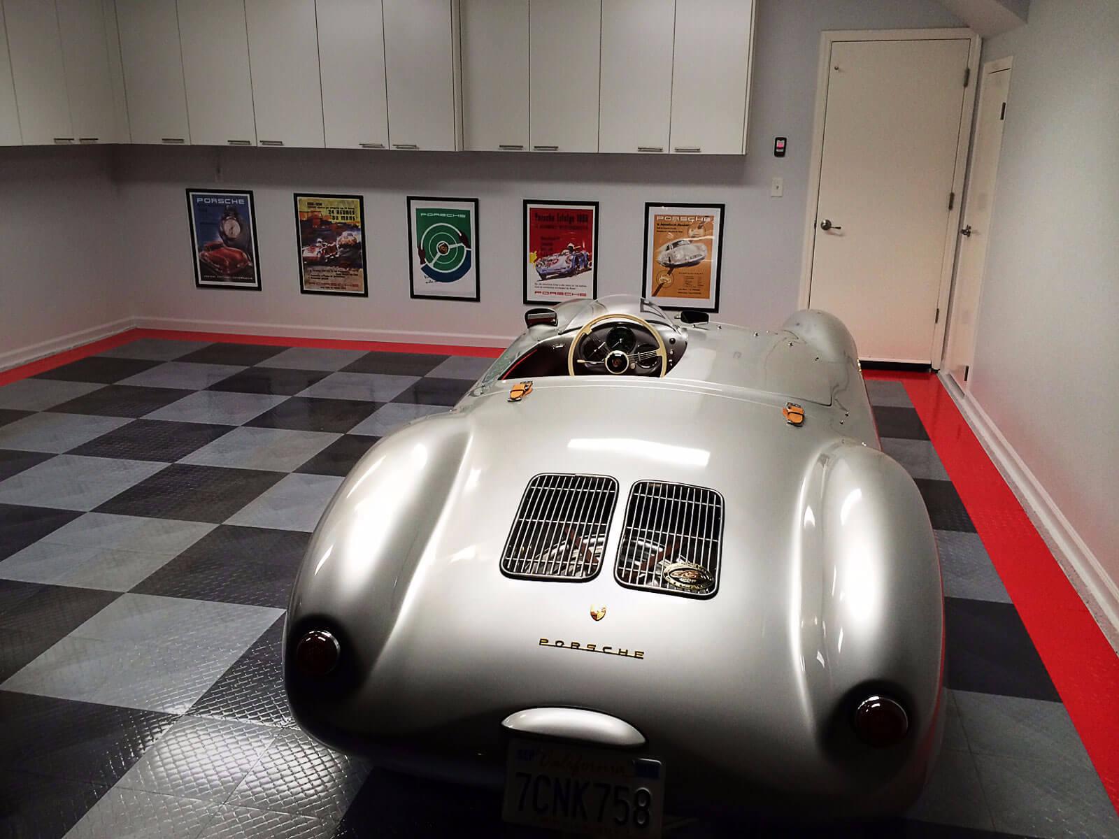 Vintage Porsche on a RaceDeck Diamond garage floor with TuffShield.