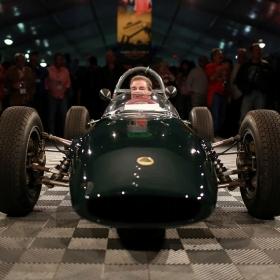 Free-Flow self-draining modular garage flooring at a vintage racecar auction