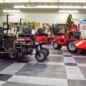 Riding mowers retail display with RaceDeck Diamond