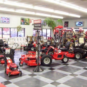 Gravely commercial equipment display with RaceDeck flooring