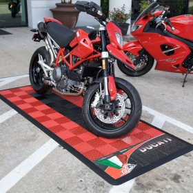 Ducati motorcycle display pad with Free-Flow tile