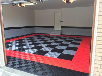 Garage with Free-Flow in red, black, and alloy