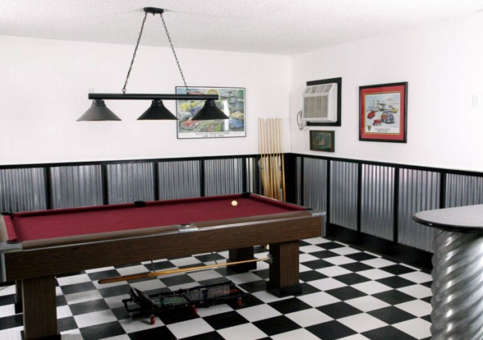 Game room with billiards table and checkered floor