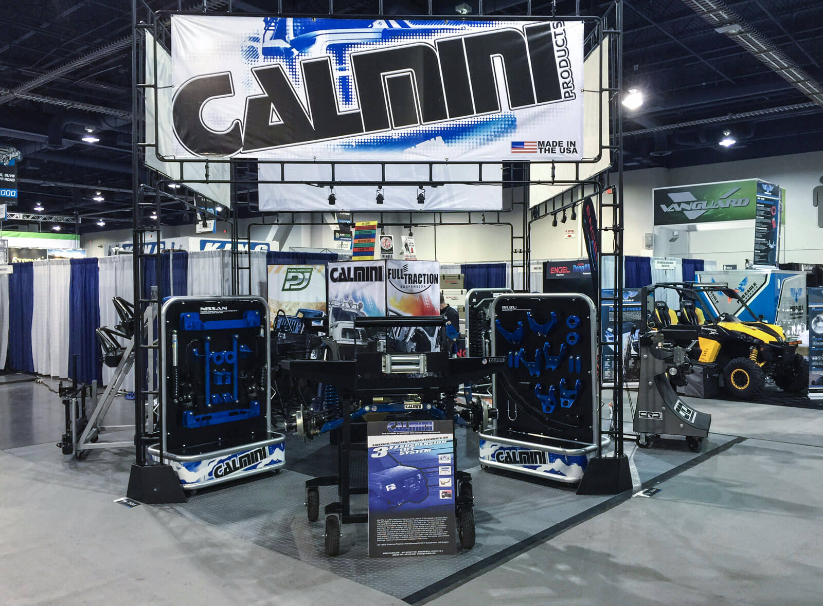 Calnini display with RaceDeck Diamond tiles