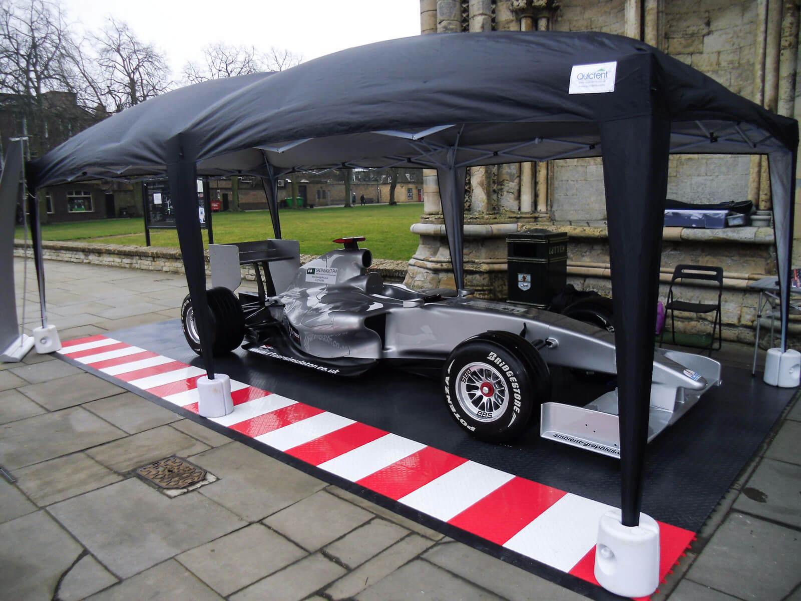 Maverick UK portable display with RaceDeck Diamond and edging