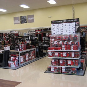 Sears Shelf Displays with RaceDeck Diamond flooring and edges.
