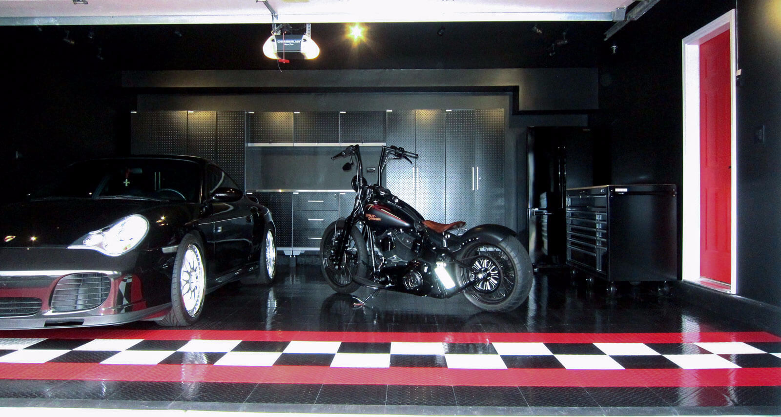 Posrche and Harley in a garage with RaceDeck Diamond TuffShield high-gloss finish