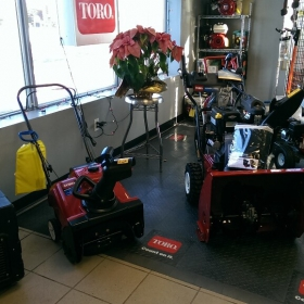 Toro showroom with RaceDeck Diamond flooring