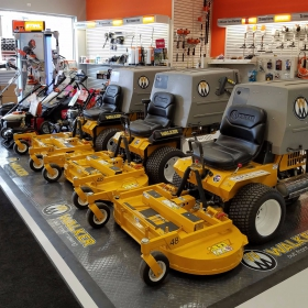 Walker Mower retail display with custom painted logos on RaceDeck Diamond.