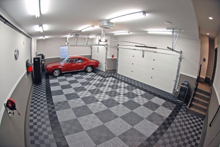 Red Camaro on RaceDeck garage flooring
