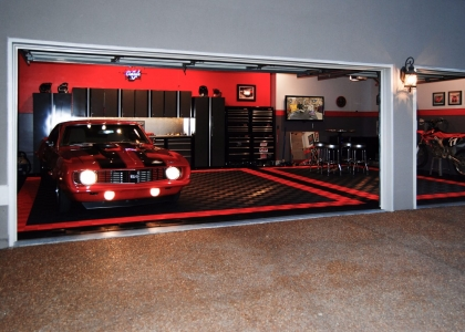 Camaro SS in a three car garage