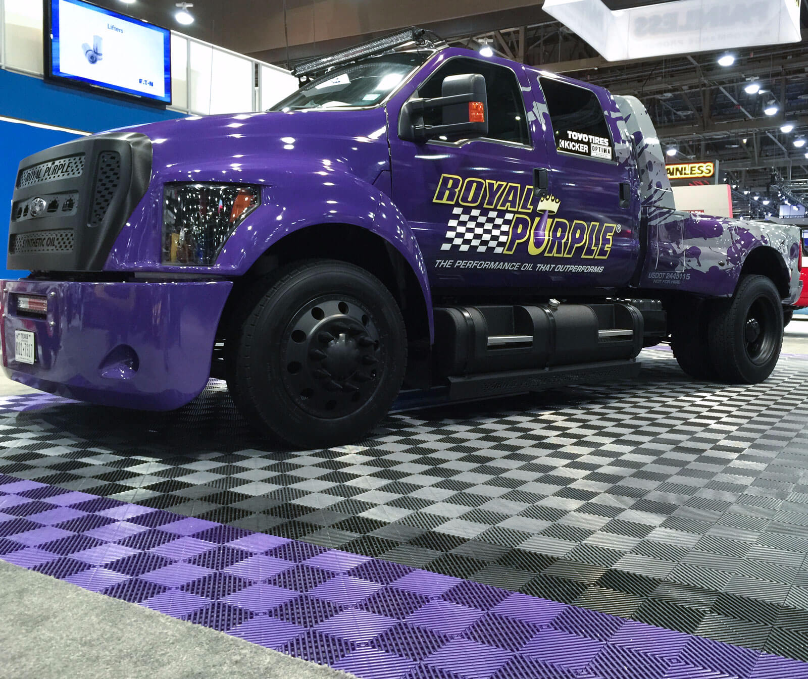 Royal purple car show display with matching Free-Flow portable floor
