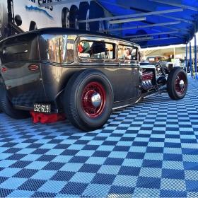 Vintage car display on Free-Flow flooring