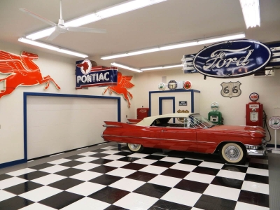 Classic car and checkerboard flooring