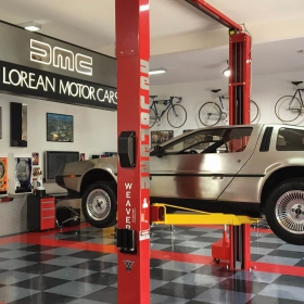 De Lorean auto garage with RaceDeck high-gloss flooring.