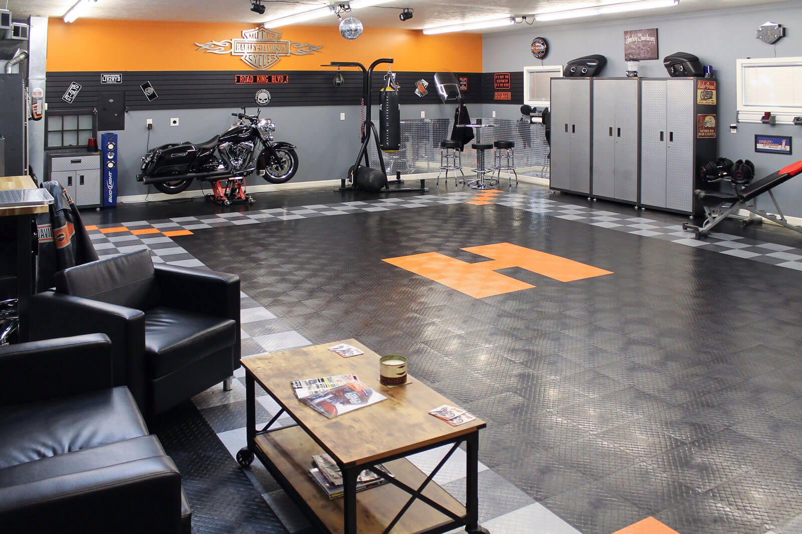 Harley-themed garage