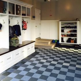 Home garage and mudroom area with Free-Flow XL self-draining floor