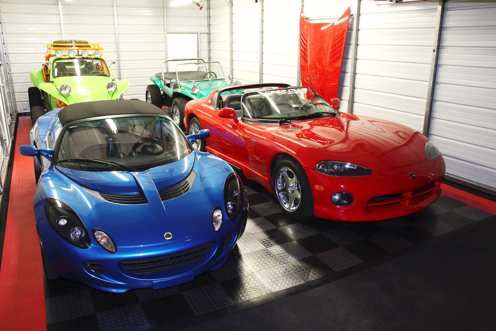 Garage with Lotus, Viper, and Dune buggy