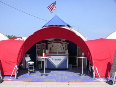 Portable tent setup
