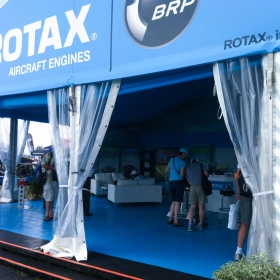 Rotax display with custom blue RaceDeck flooring