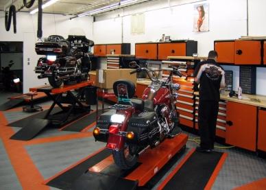 Shop with Harley-Davidson flooring