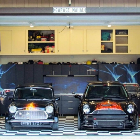 Two mini Coopers in this home garage