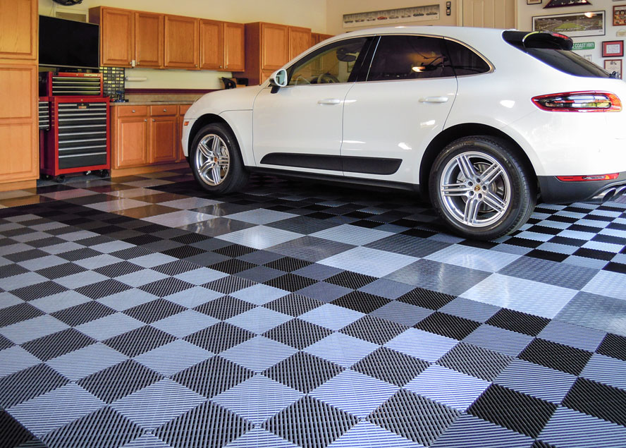 White Porsche on Modular Garage Flooring