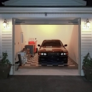 1-Car garage with black and alloy RaceDeck Diamond flooring.