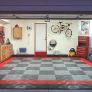 Residential Garage With RaceDeck Diamond Flooring In Red, Alloy, Graphite  And Black.