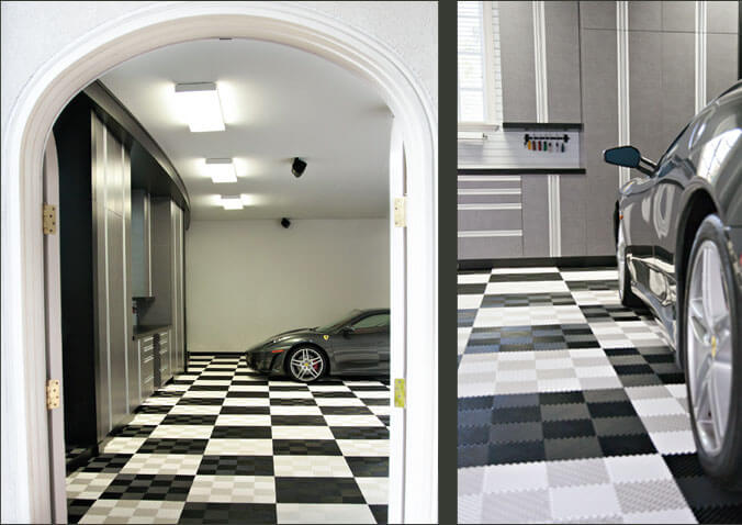 Side-by-side views of this garage with checkered black and white self-draining Free-Flow flooring.