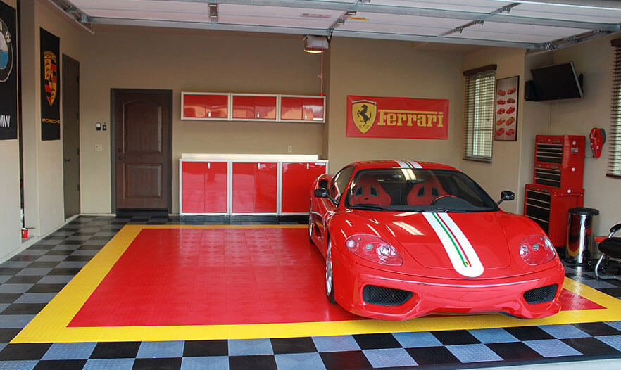 Ferrari garage with RaceDeck Diamond flooring in a custom design.