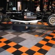ChampCar Edmonton display using RaceDeck Diamond in graphite, alloy, black and orange.