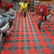 Ducatis on display with Free-Flow red and graphite flooring