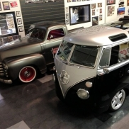 Kindig It Design VW Bus and Chevy Truck, RaceDeck Diamond flooring in alloy, graphite and black.
