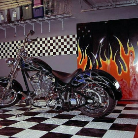 Motorcycle on RaceDeck Diamond garage flooring