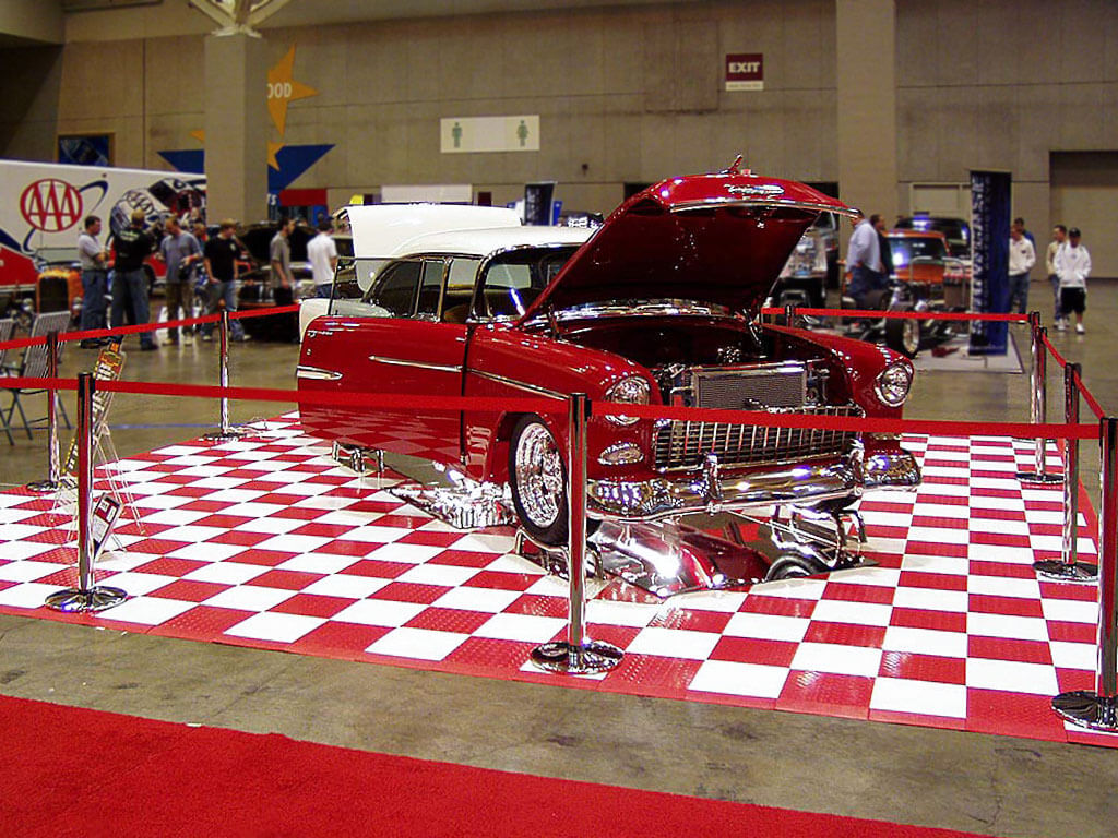 1950s vintage car at a show with red and white RaceDeck Diamond.