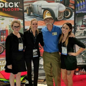 Dennis Gage at RaceDeck's SEMA booth