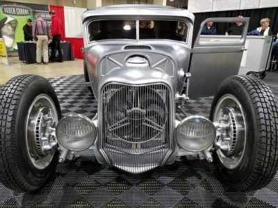 1929 Ford Tudor on display with RaceDeck Free-Flow flooring