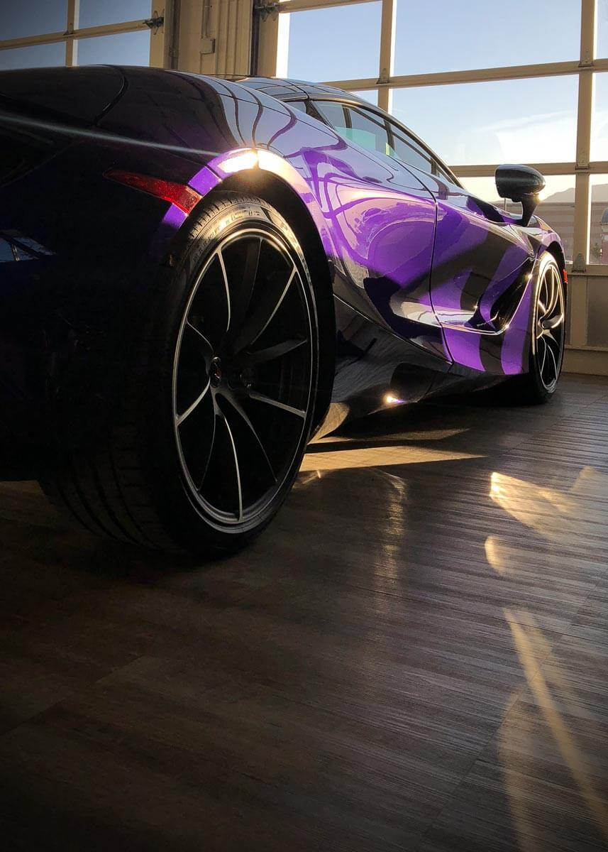 A purple supercar on Smoked Oak