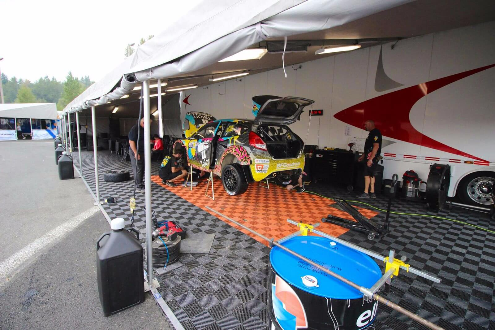 Pit crew at work at the Rallycross event