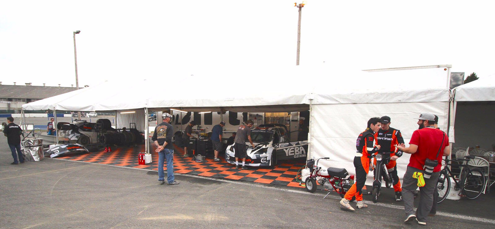 A portable outdoor setup at the Red Bull Global Rallycross event