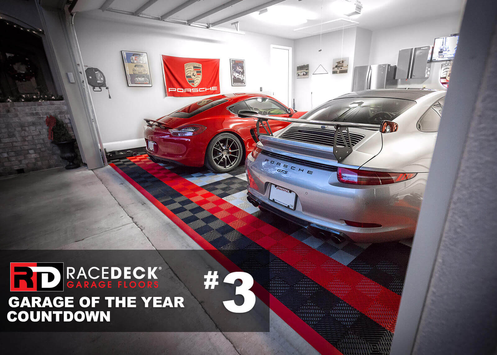 This Porsche garage features Free-Flow<sup>®</sup> in red, black and alloy colors.
