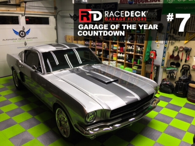 Mustang GT in this home garage with checkered Graphite and Sublime RaceDeck Diamond<sup>™<sup> flooring.