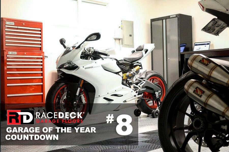 This garage showcases both RaceDeck Diamond<sup>™</sup> and self-draining Free-Flow<sup>®</sup> flooring.