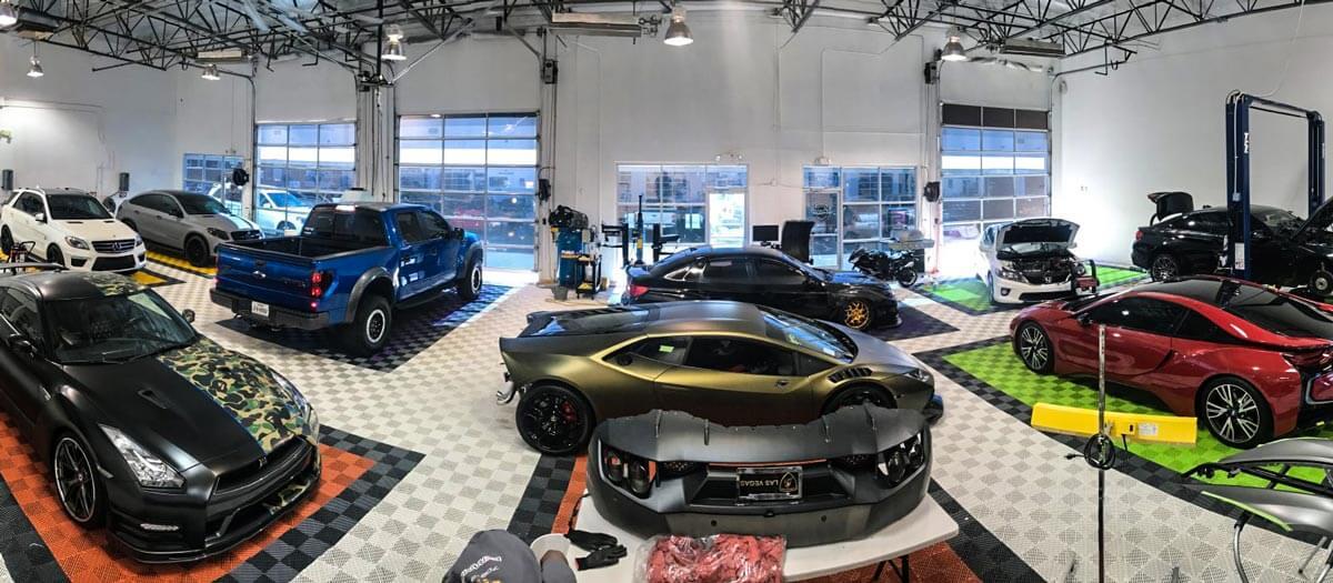 Lusso Auto Spa shop flooring